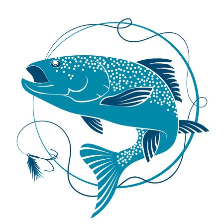 chinook: Salmon fishing and bait vector Illustration