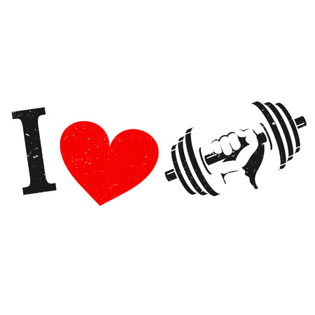 I love the gym symbol, dumbbell in hand and heart