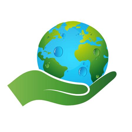 Símbolo de tierra en la mano, la ecología y el reciclaje Ilustración de vector