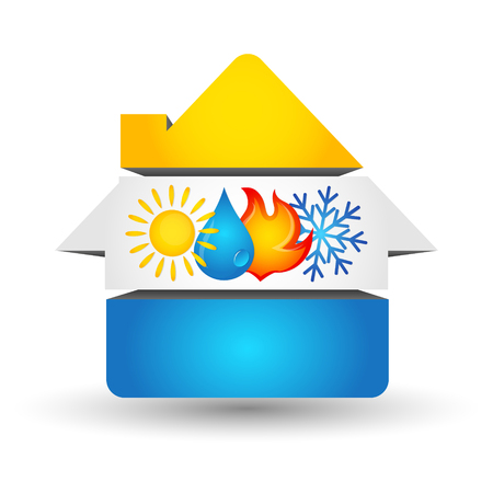 Air Conditioning and Heating symbol of renewable energy at home Vektoros illusztráció