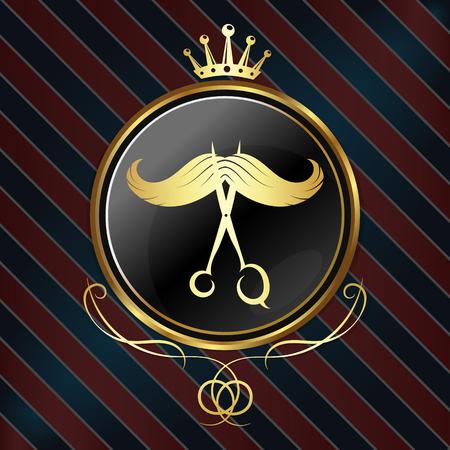 Symbol for barber shop, golden crown and circle Ilustração