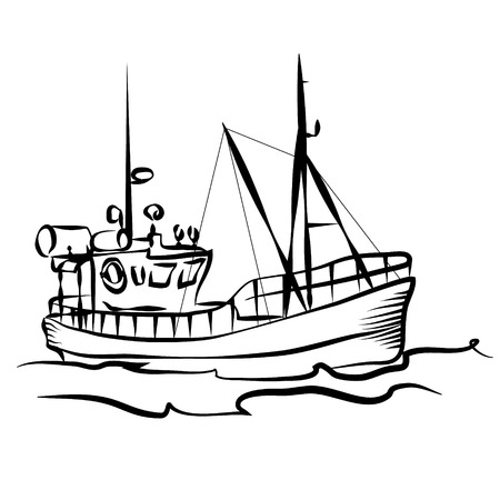 bateau de peche: Fishing boat business silhouette graphic