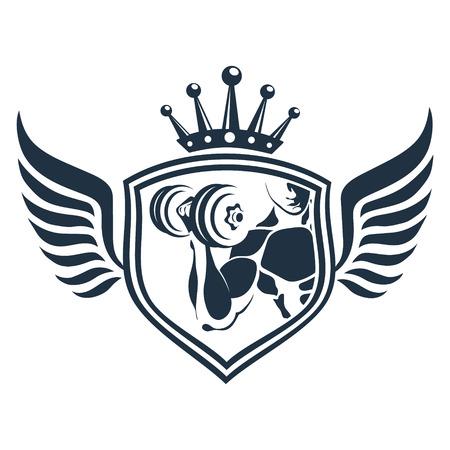 Design for gym and fitness emblem design, dumbbell in hand