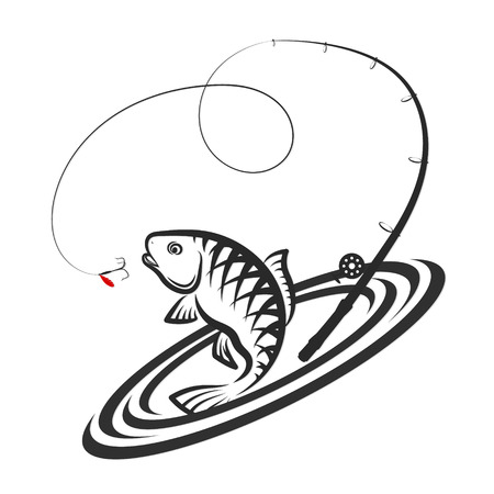 Fish jumping for bait and fishing rod design Illustration