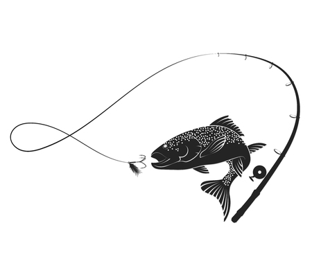 Fish jumping for bait and fishing rod silhouette