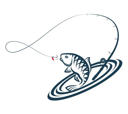 Silhouette de saut de poisson et de canne à pêche Vecteurs