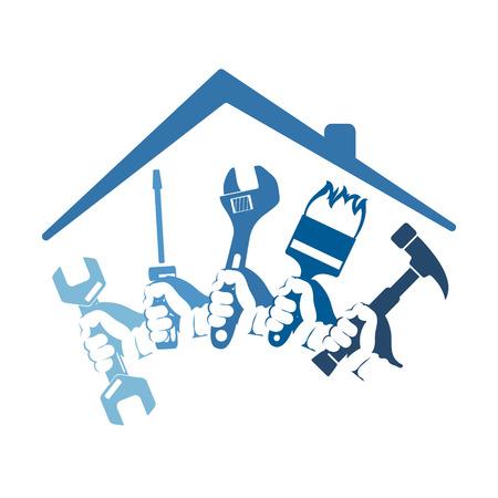 Reparaturen zu Hause mit einem Werkzeug für Business-Symbol
