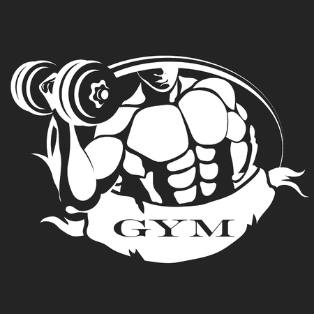 Man with dumbbells in hand symbol for gym and fitness