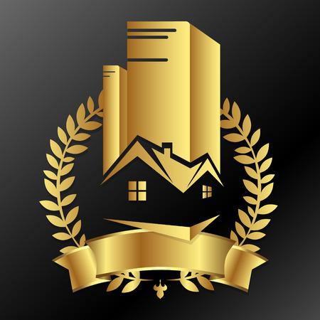 Onroerend goed bedrijf gouden ontwerp voor vector Stock Illustratie