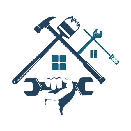 Symbol home repairs voor een zakelijk gereedschap Stockfoto - 72208732