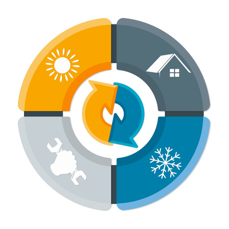 Repair of air conditioner and ventilation symbol for home business Vectores