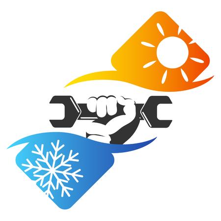 Reparatie air conditioner symbool, sleutel in de hand
