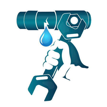 leakage: Repair water leakage from the pipe vector Illustration