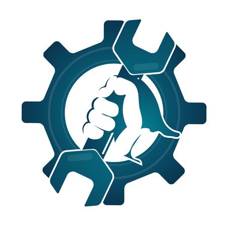 Repair symbol spanner in hand silhouette