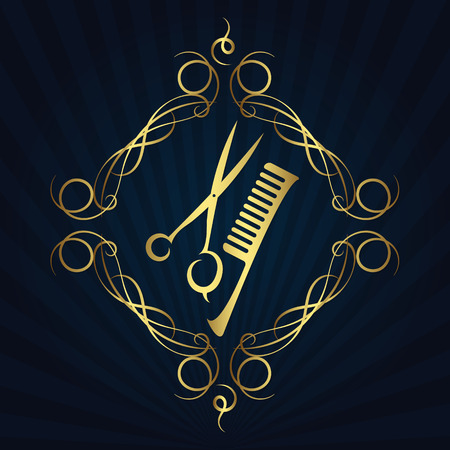 hair beauty: Scissors and hairbrush symbol for the hair and beauty salon