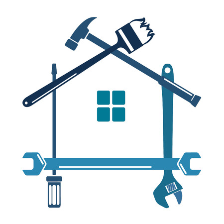 Narzędzia naprawcze i biznes sylwetka domów Ilustracje wektorowe