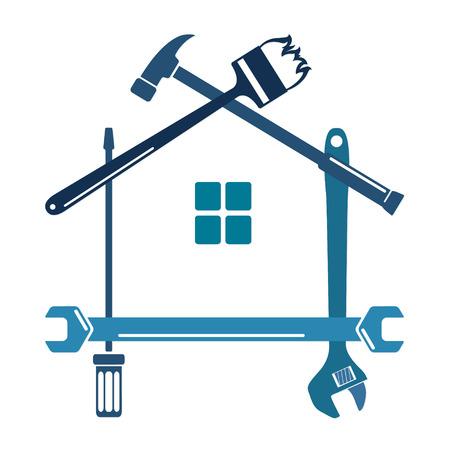 Reparatie van gereedschappen en huisvesting van silhouetten Stock Illustratie