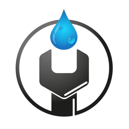 Wrench and water drop symbol to repair plumbing Stock Illustratie
