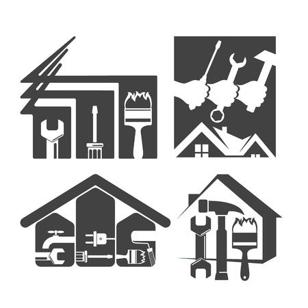 renovating: Home Repair silhouette symbol set