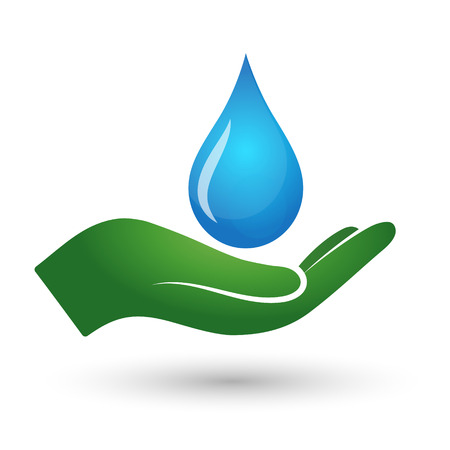 A drop of water and the palm, the symbol of ecological