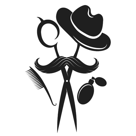 Barber shop design silhouette, mustache and hat scissors