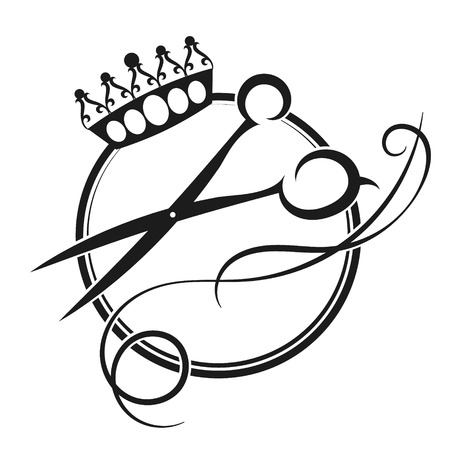Scissors and crown silhouette of a beauty salon and barber shop Illustration