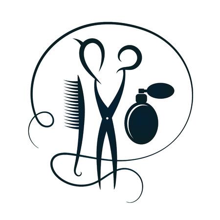 hair beauty: Scissors and raschestka for hair and beauty salon silhouette Illustration
