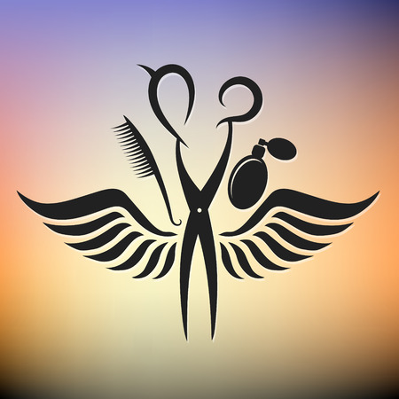 Scissors and hairbrush wings, the symbol for hairdressers