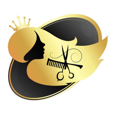 La muchacha y las tijeras para el salón de belleza y el símbolo del peluquero Foto de archivo - 72571524