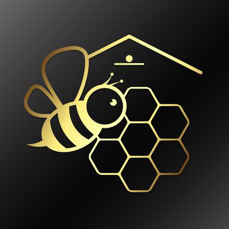 Bee i plaster miodu symbol wektora złota