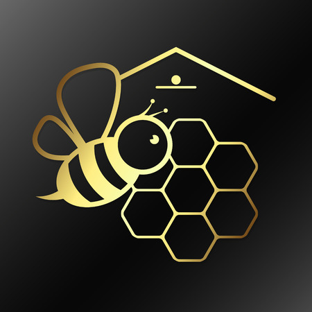 Bee and honeycombs vector symbol of gold