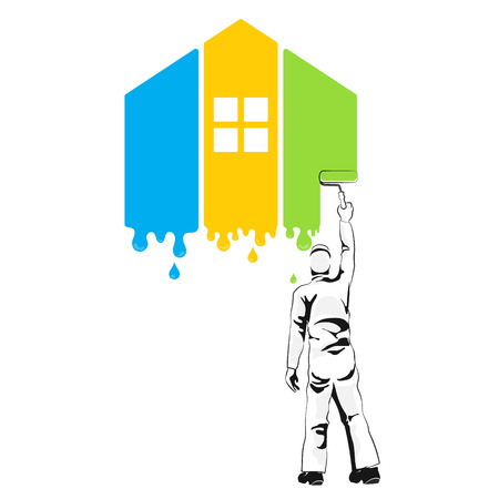 herramientas de construccion: Painting of house silhouette for the business Vectores