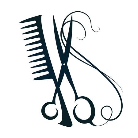 Schere und Haar Zeichen für Schönheit Vektor-Silhouette Vektorgrafik