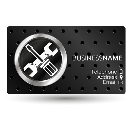 maintenance work: Business card for repair, screwdriver and wrench Illustration