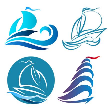 Yachts and sailboats symbols set