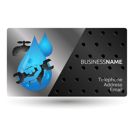 Business card repair plumbing and water supply systems design Ilustração