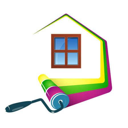 住宅設計業務、ローラーや塗料の塗装  イラスト・ベクター素材