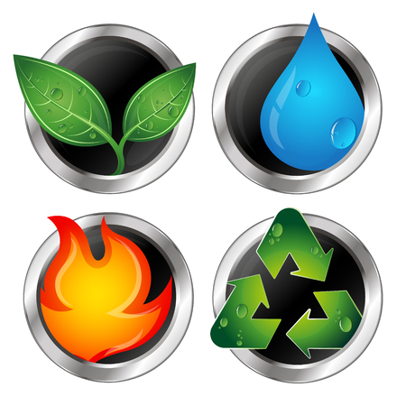 recycling symbols: Symbols of renewable energy and recycling vector Illustration