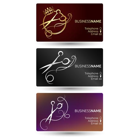 Biglietto da visita per parrucchiere e salone di bellezza impostato per il business