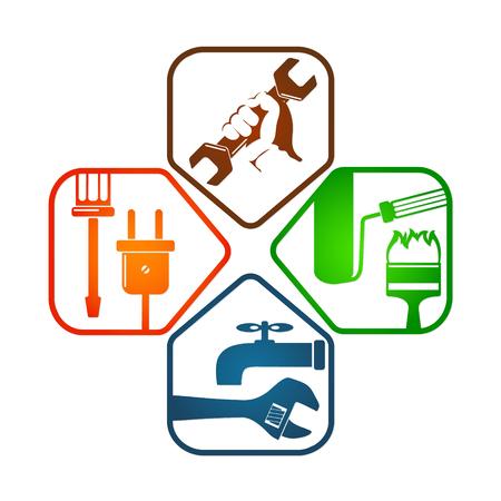 business symbol: Home repair design business symbol