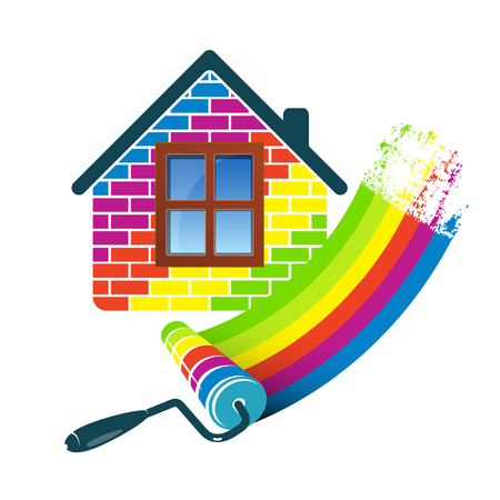 Painting house design for business Illusztráció