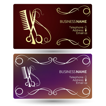 Beauty salon and hairdresser business card template vector