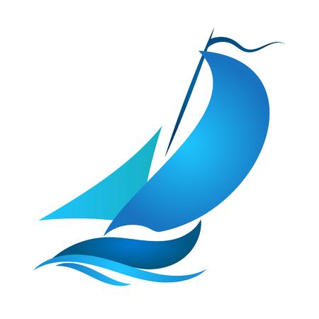 Blue sailboat floating on a wave Ilustrace