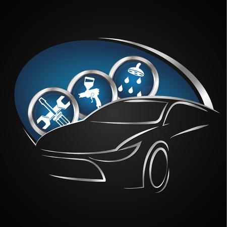 pulverizer: Car repair symbol for business