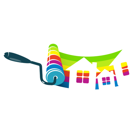 house painter: Roller with paint and houses symbol for business