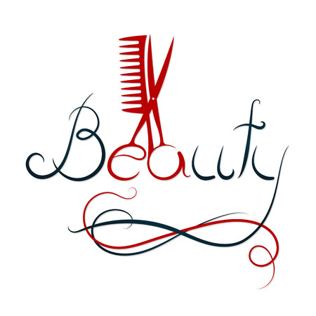 Beauty inscription, scissors and hairbrush for beauty salon and hairdresser