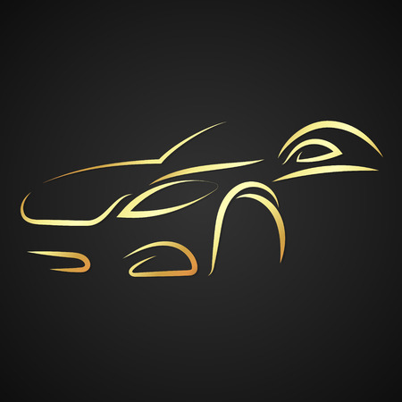 car: Golden silhouette of the car on a black background vector Illustration