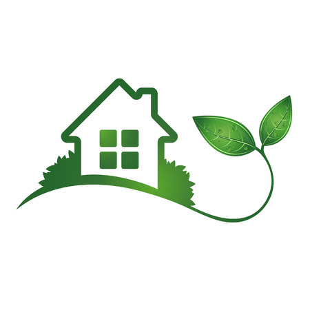 Eco house and green leaves symbol