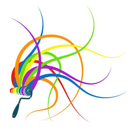Rolle mit Streifen der Farbenzusammenfassung Standard-Bild - 74635708