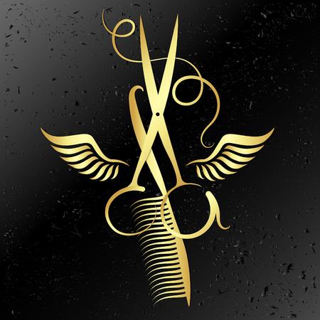 ハサミと櫛美容院の翼のシンボルと